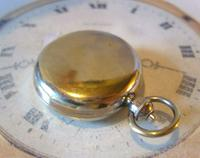 Antique Pocket Watch Chain Compass Fob 1910 Edwardian French Silver Nickel Fob (5 of 8)