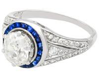 2.59 ct Diamond, 0.48ct Sapphire & Platinum Dress Ring  c.1930 (8 of 9)