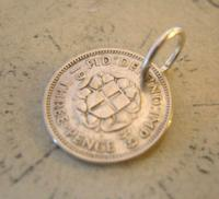 Vintage Pocket Watch Chain Fob 1939 WW2 Lucky Silver Three Pence Old 3d Coin Fob (3 of 5)