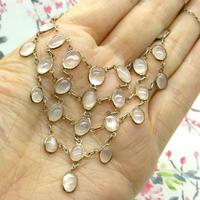 Antique Edwardian Silver Moonstone Festoon Bib Necklace c.1901 (4 of 9)