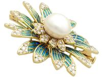 Pearl and 2.05 ct Diamond, 14ct Yellow Gold Plique-a-Jour Brooch - Vintage Circa 1950 (7 of 9)