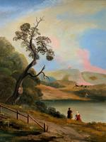 Large Stunning 19thc Arcadian Landscape Oil Painting in the 18th Century manner (3 of 13)