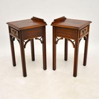 Pair of Antique Chippendale Style Mahogany Bedside Tables (3 of 12)