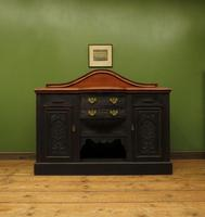 Art Nouveau Black Painted Sideboard, Gothic shabby chic (4 of 16)