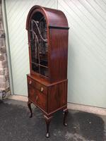 Antique Slim Figured Walnut Bookcase (4 of 12)