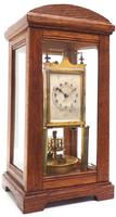 German Gustav Becker for BHA 400-Day Clock With disc pendulum silver & brass dial in Oak Case (2 of 8)