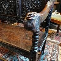 Stunning Heavily Carved Gothic Revival Oak Settle (10 of 14)