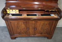 19th Century Figured Mahogany Cylinder Bureau Bookcase (6 of 12)