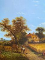 Original Victorian Harvest Countryside Landscape Oil Painting (8 of 10)