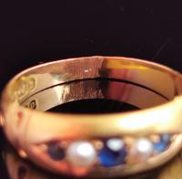 Victorian Sapphire & Pearl Ring, 15ct Gold (9 of 11)
