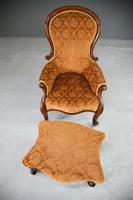 Antique Victorian Mahogany Armchair & Footstool (8 of 12)