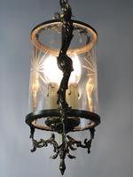 Vintage French Gilt Bronze Three Light Hall Lantern Pendant (3 of 12)