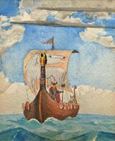 Unusual Original 19thc Seascape watercolour Painting - 11thc Vikings & Longboat (8 of 11)