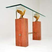 1970's Vintage Marble / Brass / Glass Console Table (4 of 12)