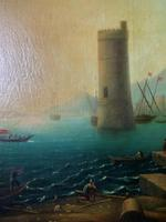 After Claude Lorrain Huge Superb 19th Century Venice Seascape Oil Painting (17 of 22)