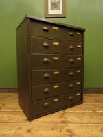 Antique Industrial Green Bank of Metal Army Drawers, Storage Workshop Drawers (2 of 14)
