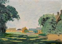 Exquisite Original Early 20th Century Impressionist Farmland Landscape Oil Painting (2 of 12)
