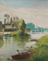 Original 1902 Antique French Riverscape Landscape Oil on Canvas Painting (5 of 13)