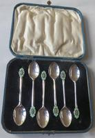 A cased set of silver, green-enamelled coffee spoons in the Art Deco manner (5 of 9)