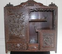 Antique Japanese Carved Wood Tabletop Cabinet c.1900 (7 of 15)