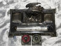 Antique Victorian Silver Plate Crane Bird Inkwell Stand After James Deakin (36 of 37)