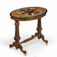 Victorian Walnut & Pietra Dura Table (2 of 16)