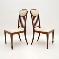 Pair of Antique Edwardian Inlaid Mahogany Side Chairs (3 of 10)