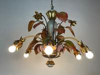 Large Florentine Ceiling Light Chandelier Toleware with Polychrome Painting (3 of 11)