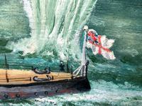 "Large Seascape Oil Painting WW2 Battle ""HMS Battleship Hood The Last Moments"" (2 of 12)"