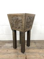 Carved Oak Plant Stand with Metal Liner (2 of 7)