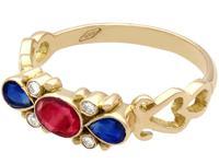 0.50ct Ruby, 0.32ct Sapphire & Diamond, 18ct Yellow Gold Dress Ring - Vintage c.1940 (3 of 9)