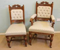 Antique Victorian Set of Eight Oak Dining Chairs (16 of 16)