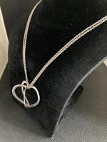 """Danish Silver Heart Pendant on """"double"""" Chain. 1960s (3 of 5)"""