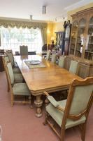 English Blonde Oak Dining Table  and 10 Matching Chairs (5 of 6)