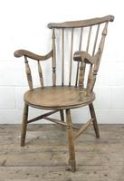 Early 20th Century Antique Beech Penny Seat Armchair (10 of 10)