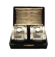 Pair of Antique Victorian Sterling Silver Filigree Napkin Rings in Case 1890 (10 of 10)