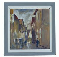 Street Scene Ronald Ossory Dunlop 'Irish 1894-1973' Oil on Board
