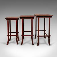 Antique Nest of 3 Occasional Side Tables, Oriental, Japanned, Victorian c.1900 (7 of 12)