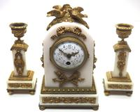 Incredible French White Marble Mantel Clock French 8-day Timepiece Garniture Clock Set (2 of 13)