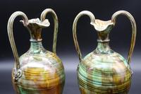 Attractive Pair of Mid 19th Century Agateware High-Handled Vases (4 of 5)