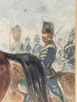 Military Watercolour Prince of Wales Own 10th Royal Hussars Guard on Horseback by Henry Martens c.1850 (9 of 53)