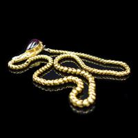 Antique Victorian Cabochon Garnet Yellow Gold Snake Serpent Necklace (9 of 11)