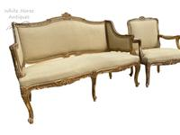 Exceptional Antique French 19th Century Gold Gilt Upholstered Salon Suite (7 of 9)