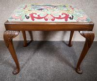 Carved Walnut Cabriole Leg Stool in the Queen Anne Style