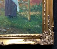 Wonderful Original Signed Vintage Oil Painting - Pretty Milkmaid in Farmyard (10 of 12)