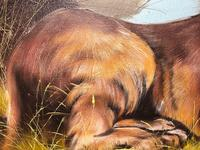 Fine Art Vintage 20th Century Oil Canvas Painting Recumbent Lion Portrait Signed (10 of 12)