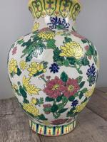 English Floral Vase Table Lamp, Rewired & Pat Tested c.1900 (4 of 9)