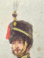 Military Watercolour Prince of Wales Own 10th Royal Hussars Guard on Horseback by Henry Martens c.1850 (17 of 53)
