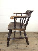 19th Century Ash and Elm Smoker's Bow Chair (M-1704) (2 of 15)