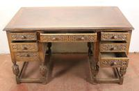 1930s Carved Oak Desk with Good Oak Top. 1 Piece (2 of 4)
